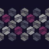 Naadloos abstract geometrisch patroon De vormen van zeshoeken Textuurstrepen, controles, punten Stock Foto