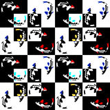 Naadloos abstract geometrisch patroon op een schaakachtergrond met vissen Stock Foto's