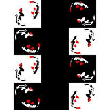 Naadloos abstract geometrisch patroon op een schaakachtergrond met vissen Stock Afbeeldingen