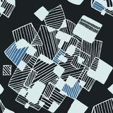 Naadloos abstract geometrisch patroonzwarte en blauw Stock Foto's