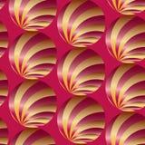 Naadloos Abstract Gouden en Rood Patroon Gestreepte ballen Visueel Volumeeffect Geschikt voor textiel, stof en verpakking Stock Fotografie