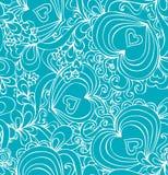 Naadloos abstract hand-drawn blauw patroon met harten stock illustratie