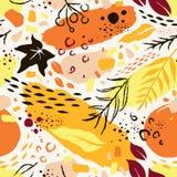 Naadloos abstract hand-drawn de herfstpatroon Stock Afbeelding