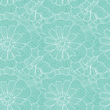 Naadloos abstract hand-drawn golven en bloemenpatroon, golvende achtergrond royalty-vrije illustratie