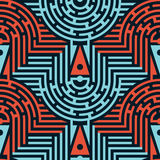 Naadloos Abstract Maze Pattern in Blauwe en Rode Kleuren vector illustratie