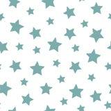 Naadloos abstract patroon met aquamarijnhand getrokken sjofele sterren van verschillende grootte Witte achtergrond Royalty-vrije Stock Afbeelding