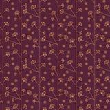 Naadloos abstract patroon met bloemen in gouden en purpere kleuren - vectoreps8 Stock Foto's