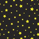 Naadloos abstract patroon met gele sterren op zwarte achtergrond Vector Halloween illustratie stock illustratie