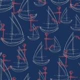 Naadloos abstract patroon met geschetst rood anker en witte zeilboot met een marineachtergrond vector illustratie