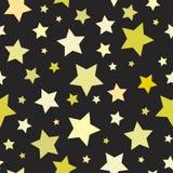 Naadloos abstract patroon met grote scherpe gele sterren op zwarte achtergrond Vector Halloween illustratie Royalty-vrije Stock Afbeeldingen