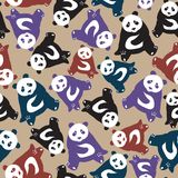 Naadloos abstract patroon met hand-drawn leuke panda's Gebruikt fash royalty-vrije illustratie