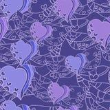 Naadloos abstract patroon met lilac harten Stock Foto