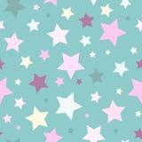 Naadloos abstract patroon met sterren van verschillende grootte en kleur op blauwe achtergrond Royalty-vrije Stock Afbeelding