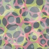 Naadloos abstract patroon met transparante ruimtecirkels op groene en roze achtergrond Royalty-vrije Stock Afbeeldingen