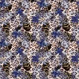 Naadloos abstract patroon met veren met waterverfeffect stock afbeelding