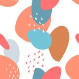 Naadloos abstract patroon met vlekken en punten Blauwe, beige, rode, turkooise kleuren Avan-garde leuke beeldverhaalachtergrond vector illustratie