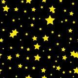 Naadloos abstract patroon met weinig sjofele scherpe gele sterren op zwarte achtergrond Vector Halloween illustratie royalty-vrije illustratie