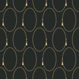 Naadloos abstract retro geometrisch patroon Ritssluitingsovalen en schuiven in geel, grijs en zwart stock illustratie