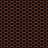 Naadloos abstract retro geometrisch patroon Verbonden kettingscirkels en zeshoeken in schaduwen van sinaasappel en zwarte royalty-vrije illustratie