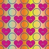 Naadloos abstract retro patroon Cirkels en harten in geometrische lay-out royalty-vrije illustratie