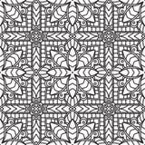Naadloos Abstract Stammen zwart-Wit Patroon in Monolijnstijl Royalty-vrije Stock Foto