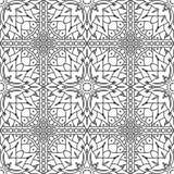 Naadloos Abstract Stammen zwart-Wit Patroon in Monolijnstijl Stock Foto