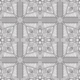 Naadloos Abstract Stammen zwart-Wit Patroon in Monolijnstijl Stock Afbeelding