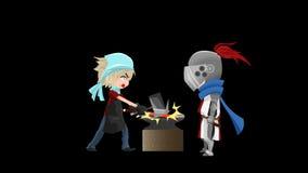 Naadloos alpha- animatiebeeldverhaal van een ridderstrijder die een smid wachten om zijn nieuwe zwaard alpha- achtergrond te bewe stock illustratie