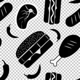 Naadloos Amerikaans snel voedsel zwart-wit patroon Vector illustratie Royalty-vrije Stock Foto