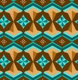 Naadloos Arabisch geometrisch 3d abstract turkoois hoofdkaaspatroon Stock Afbeeldingen