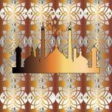 Naadloos Arabisch Patroon Gouden Moskee Stock Foto's