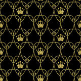 Naadloos Art Nouveau Crowns Scale Pattern met Goud stock illustratie