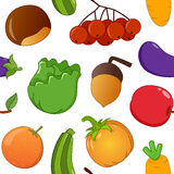 Naadloos Autumn Fruits & Groenten Stock Foto