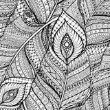 Naadloos Aziatisch etnisch bloemen retro krabbel zwart-wit patroon als achtergrond in vector met veren royalty-vrije illustratie