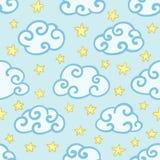 Naadloos babypatroon met pluizige hand-drawn gebogen wolken en sterren Leuke beeldverhaaltextuur voor de slaapkamer van kinderen royalty-vrije illustratie