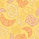 Naadloos bakkerijpatroon van croissants en pretzels Stock Foto's