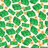 Naadloos bedrijfs achtergronddietextuurpatroon van dollarbankbiljetten wordt gemaakt Stock Afbeeldingen