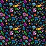 Naadloos beeldverhaal hand-drawn patroon met bloemen en vogel. Stock Foto