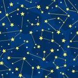 Naadloos beeldverhaalpatroon met constellatie stock illustratie