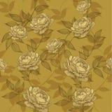 Naadloos behang met bloemenornament en rozen Vectorillust Stock Foto's