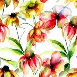 Naadloos behang met de lentebloemen Stock Afbeelding