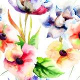 Naadloos behang met de zomerbloemen Royalty-vrije Stock Afbeeldingen