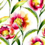 Naadloos behang met de zomerbloemen Stock Afbeeldingen