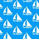 Naadloos behang met een zeilboot vector illustratie