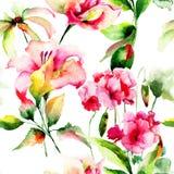 Naadloos behang met Geranium en Leliebloemen Royalty-vrije Stock Afbeelding