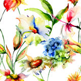 Naadloos behang met gestileerde bloemen Royalty-vrije Stock Foto