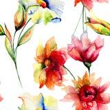 Naadloos behang met Kleurrijke bloemen Stock Afbeeldingen