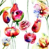 Naadloos behang met rode de zomerbloemen Stock Foto's