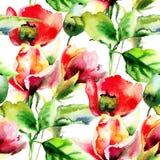 Naadloos behang met Roos en Papaverbloemen stock illustratie