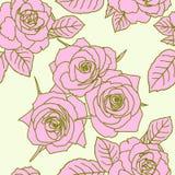 Naadloos behang met roze bloemen stock illustratie